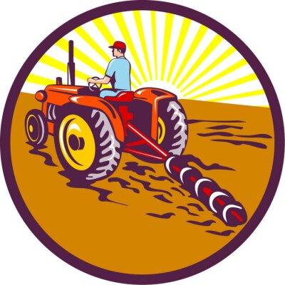 Poster Farmer sul trattore Circle Retro