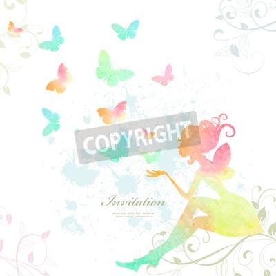Poster Fata di vernice acquerello