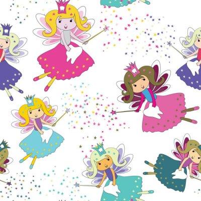 Poster Fate dei denti con bacchette magiche e stelle intorno. Modello senza soluzione di continuità Illustrazione vettoriale su sfondo bianco