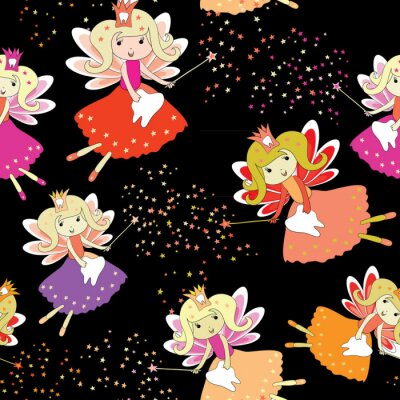 Poster Fate dei denti con bacchette magiche e stelle intorno. Modello senza soluzione di continuità Illustrazione vettoriale su sfondo nero