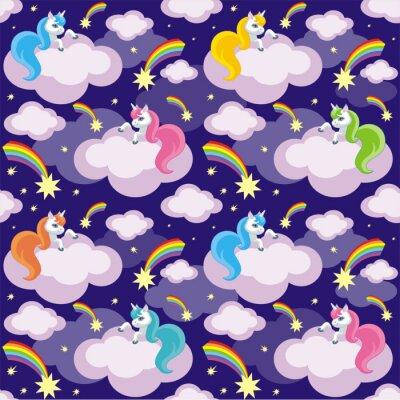 Poster Fatta di bambini modello senza soluzione di continuità con l'immagine di unicorns carino. Sfondo vettoriale colorato