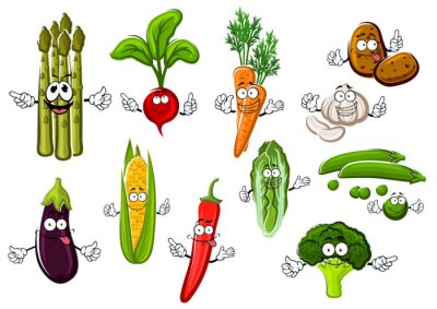 Poster fattoria verdure Happy personaggi dei cartoni animati
