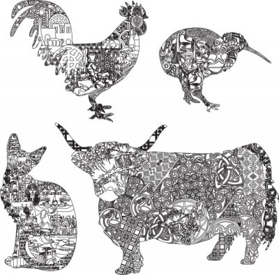 Poster Fauna ornamenti etnici