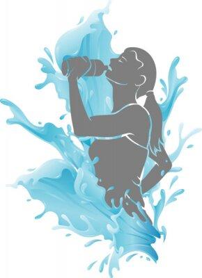 Poster Female Drinking Fresh Water