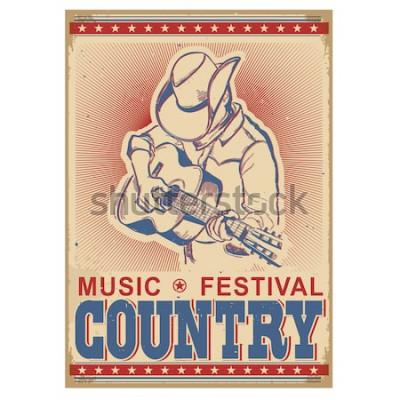 Poster Festival americano di musica di sottofondo con musicista a suonare la chitarra. Retro manifesto di vettore con testo su vecchia carta