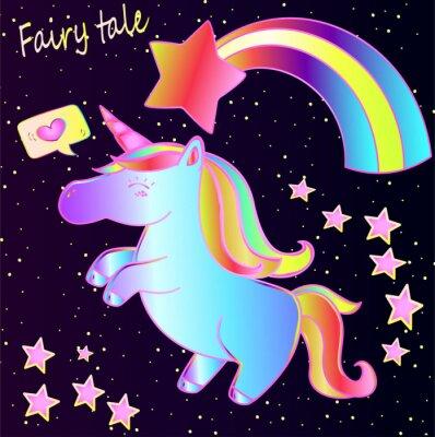 Poster Fiaba - carino unicorno al neon e arcobaleno con cuori e stelle su uno sfondo scuro sfumato