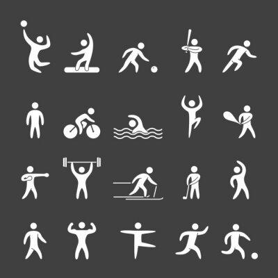 Poster Figure silhouette di atleti di sport popolari