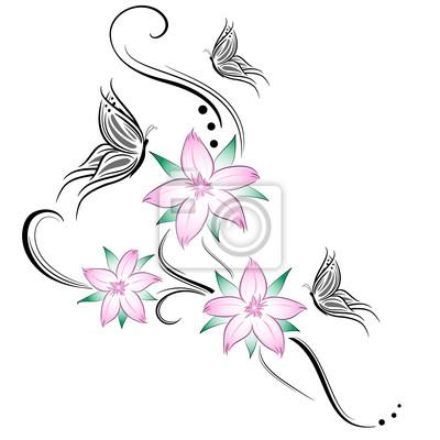 Fiori Di Ciliegio E Farfalline Stilizzati Tatuaggio Manifesti Da