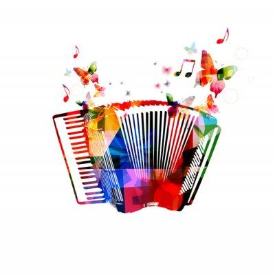 Poster Fisarmonica colorato. Strumento di musica sfondo con farfalle