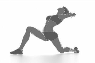 Poster Fitness donna che si estende su bianco isolato - concetto di riscaldamento