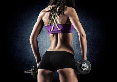 Poster Fitness donna sportiva in formazione