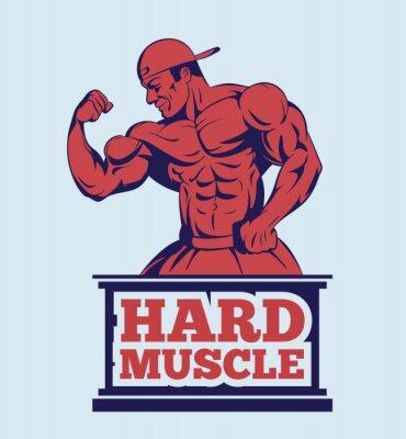 Poster fitness modello in posa culturista logo. Uomo del muscolo emblema