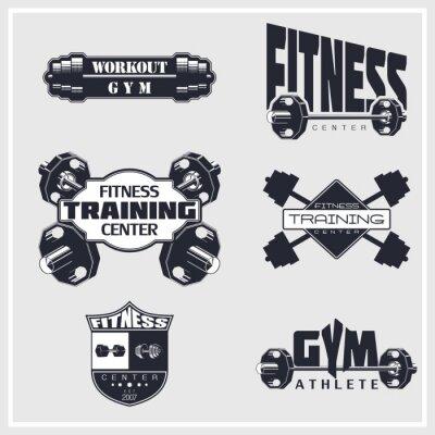 Poster Fitness, palestra, emblemi di bodybuilding
