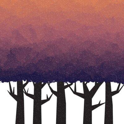Poster fitta foresta nel tempo crepuscolare