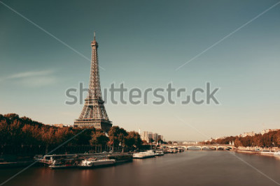 Poster Fiume di Parigi la Senna con la torre Eiffel in Francia.