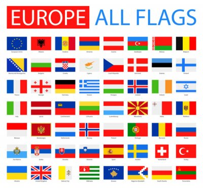 Poster Flags of Europe - Foto completa Collection. Vector serie di bandiere europee piatte.