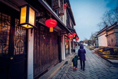 Poster Flagstone vicolo in Zhouzhuang, Cina