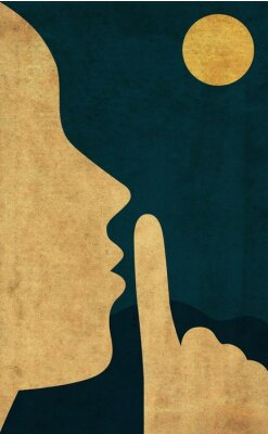 Poster Flat style illustration of the hush gesture during a quiet night with full moon
