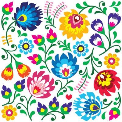 Poster Floral polacco modello arte popolare in piazza - Wycinanki