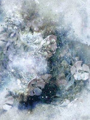 Poster Flovers e inverno sfondo, vecchio stile art, computer di collage.