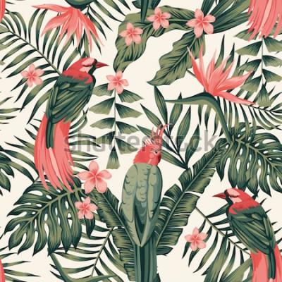 Poster Foglie tropicali, frangipani di fiori, uccelli del paradiso, immagine realistica senza cuciture di vettore di colori astratti del pappagallo