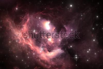 Poster Fondo dello spazio del cielo notturno con la nebulosa e le stelle, illustrazione