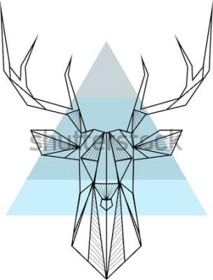 Poster Fondo geometrico astratto dei pantaloni a vita bassa di vettore con i cervi