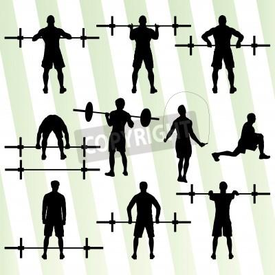 Poster Formazione Crossfit con il concetto di pesi sfondo vettoriale per poster