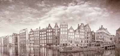 Poster Foto d'epoca di edifici Amsterdam