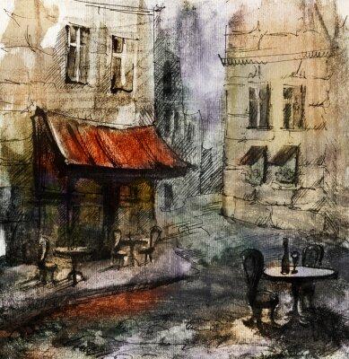 Poster Francese all'aperto pittura european cafe, disegno grafico a colori