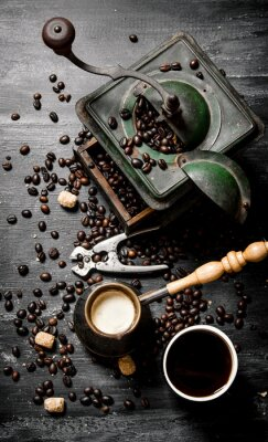 Poster Fresco pentola caffè preparato