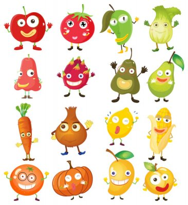 Poster Fruit and vegetables with face