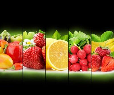 Poster frutta e striscia di verdura raccolta su sfondo nero