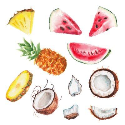 Poster frutta estiva acquerello set