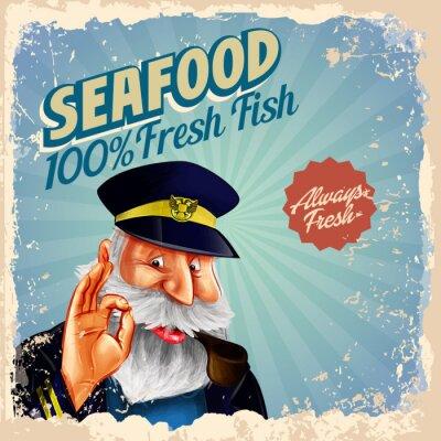 Poster frutti di mare capitano pesce fresco