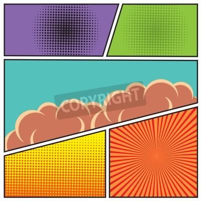 Poster Fumetti pop stile art modello di layout in bianco con travi nuvole e il reticolo di puntini illustrazione vettoriale