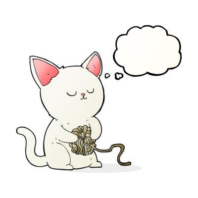 Poster fumetto gatto gioca con la sfera di filato con bolla di pensiero