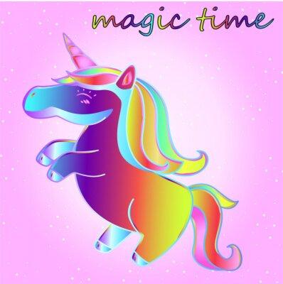 Fumetto Unicorno Al Neon Con Stelle Su Uno Sfondo Sfumato Rosa