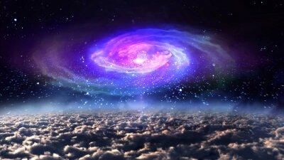 Poster Galaxy blu di notte nello spazio.