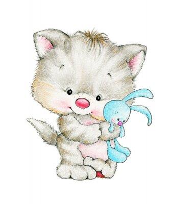 Poster Gattino sveglio con il bambino coniglietto