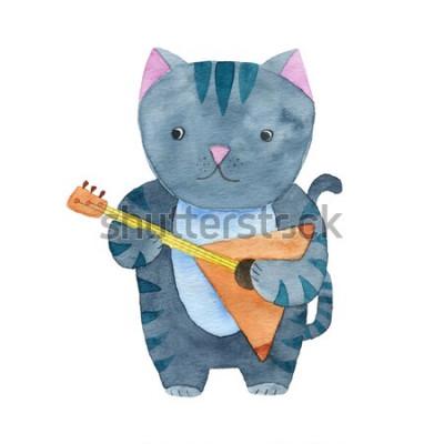 Poster Gatto sveglio dell'acquerello che gioca il balalaika o la chitarra