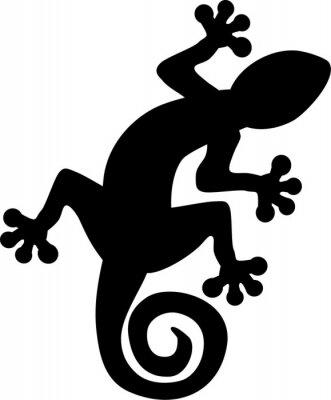 Poster Gecko lucertola silhouette
