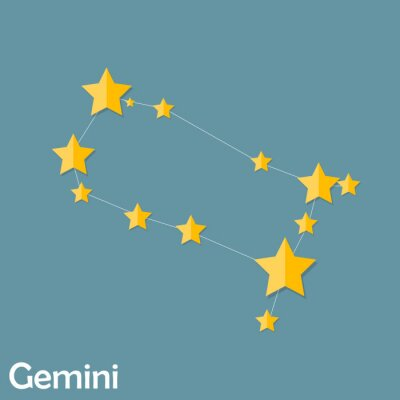 Poster Gemini Zodiac Sign of the Beautiful Bright Stars Vector Illustra