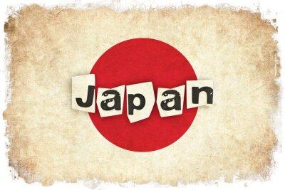 Poster Giappone grunge bandiera illustrazione del Paese asiatico con il testo