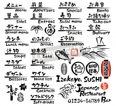 Poster Giapponese MENU cibo, in inglese e giapponese