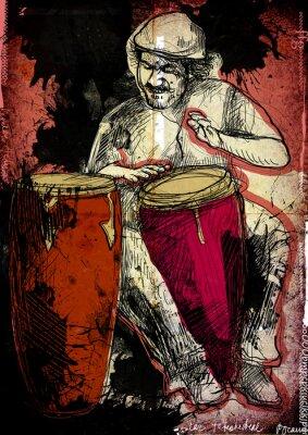 Poster giocatore conga - una illustrazione disegnata a mano