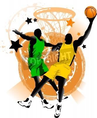 Poster giocatore di basket a sfondo di anelli di basket (vector);