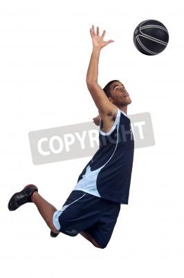 Poster Giocatore di pallacanestro isolato in bianco
