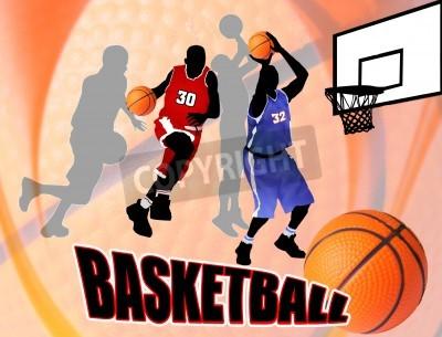 Poster Giocatori di azione Basket sul bellissimo sfondo astratto. Basket classico manifesto illustrazione