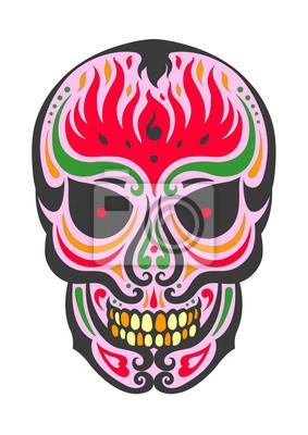 Poster Giorno dei Morti zucchero illustrazioni di design cranio